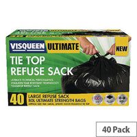Visqueen Ultimate Tie Top Refuse Sacks 80 Litre Black (Pack of 40 Sacks)