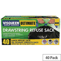 Visqueen Ultimate Drawstring Refuse Sack 80 Litre Black Pack of 40 Sacks