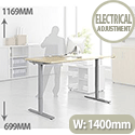 Ergonomic Master Electric Height-Adjustable Stand Up Desk W1400 x D800 x H699-1169 Beech
