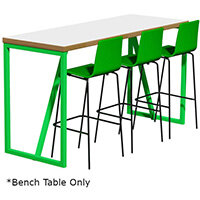 Frovi BLOCK STEEL COLOUR Large High Poseur Bench Table W2300xD700xH1050mm Bespoke Colour Top & Edge With RAL Painted Hoop Leg Frame
