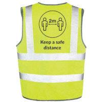 Hi Vis Vest Body Tech Yellow Large Keep a Safe Distance Ref: BT82-L