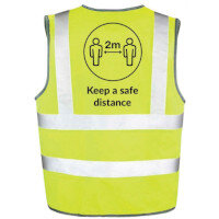 Hi Vis Vest Body Tech Yellow XLarge Keep a Safe Distance Ref: BT82-XL