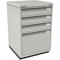 Bisley Flush Fronted Filing Cabinet With 3 Stationery & 1 Filing Drawer Lockable Goose Grey 1F3E