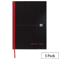 Black n Red A6 Book C66655 Casebound 192 Pages Pack 5