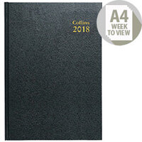 Collins 2018 Black A4 Week to View Desk Diary 40
