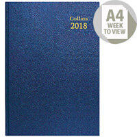 Collins 2018 Blue A4 Week to View Desk Diary 40