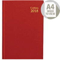 Collins 2018 Red A4 Week to View Desk Diary 40