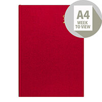 Collins A4 Desk Diary Week to View 2020 Red 40