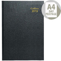 Collins A4 Desk Diary Day/Page Early Edition 2019 Black 44E