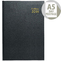 Collins Day/Page 2018 Black A5 Desk Diary 52