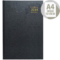 Collins Desk Diary 2018 A4 Week to View Black Appointments Diary A40