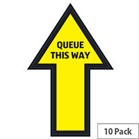 Arrow Queue Here Sign 280mmx210mm Pack 10