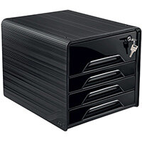 CEP Smoove Secure 4 Drawer Module with Lock Black 7-311S Black