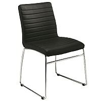 Lazio Executive Leather Look Boardroom & Meeting Room Chair With Chrome Base Black