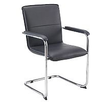 Pavia Leather Look Chrome Cantilever Base Boardroom & Meeting Room Armchair Black