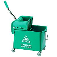 Green Mobile Mop Bucket and Wringer 20 Litre 101248GN