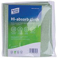 Robert Scott Hi-Absorb Microfibre Cloth Green Pack of 5 103986GREEN