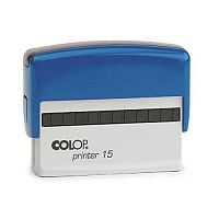 COLOP Printer 15 oblong text Pre-Inked Rubber stamp Black Ink Blue Handle