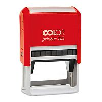 COLOP Printer 55 rectangular text Pre-Inked Rubber stamp Black ink Red Handle
