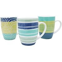 12oz Bullet Mugs Multi-Coloured Dots and Stripes Designs (Pack of 12) P1160115