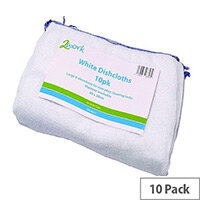 2Work White Dishcloth 300 x 400mm White Pack 10