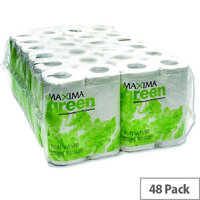 Maxima Green Recycled Toilet Paper Roll White 2 Ply Pack 48 Toilet Paper Rolls