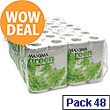 Recycled Toilet Paper Roll White 2 Ply Pack 48 Maxima Green Toilet Paper Rolls