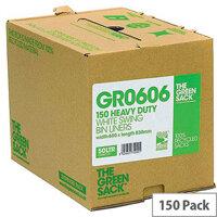 The Green Sack 50L White Swing Bin Liners in Dispenser Pack of 150 VHPGR0606