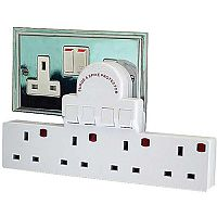 4 Gang 13A Switched Surge Protected One to Four Socket Adaptor