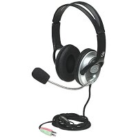 Manhattan Stereo Computer Headset for Gaming, Skype Calls, Multimedia - Flexible Microphone Boom - 2 x 3.5mm Audio Jack - 2.5m Cable - Well-Padded, Cloth-Covered Cushion - Black & Silver