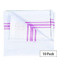 White Cotton Tea Towels with a Pink Stripe 190x290mm Pack of 10 TW192910P