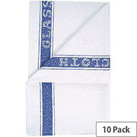Cotton Glass Cloth Tea Towel 200x300mm White & Blue Pack of 10 TM203010P