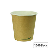 Compostable 10oz/300ml Brown Kraft Compostable Coffee Cups Disposable Hot Drink Cups Pack of 1000