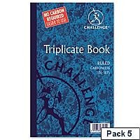 Challenge Triplicate Book Carbonless Ruled 210x130mm Pack 5