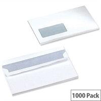 5 Star Office White DL Window Envelopes Self Seal Wallet 90gsm Pack of 1000