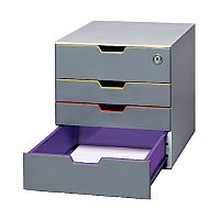 Durable Varicolor Plastic Desktop Drawers Set Stackable 4 Drawers Box 760627