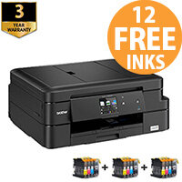 Brother DCP-J785DW 3-in-One Inkjet Printer Bundle with 12 Ink Cartridges