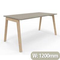 Nova Wood Home Office Desk Grey Desktop & Solid Ash Legs W1200xD700mm