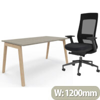 Nova Wood Home Office Desk Grey Desktop & Solid Ash Legs W1200xD700mm & X.22 Posture Office Chair with Unique Mesh Back And Adjustable Lumbar Support Black