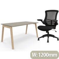 Nova Wood Home Office Desk Grey Desktop & Solid Ash Legs W1200xD700mm & Executive High Back Mesh OP Office Chair - Stylish Design & Great Comfort