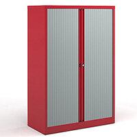 Bisley Systems Storage Medium Tambour Cupboard 1570mm High - Red