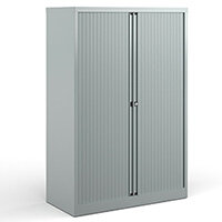 Bisley Systems Storage Medium Tambour Cupboard 1570mm High - Silver