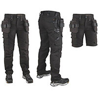 Snickers P7 Canvas Trousers Black C46+W30L30 DW1