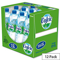 Volvic Natural Mineral Water, 1.5 Litre Bottle of Still Water, Refreshing Unique & Delicate Taste, Recyclable Bottle, Pack of 12
