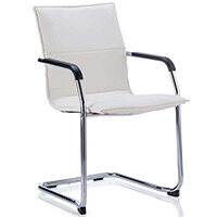 Echo Boardroom & Visitor Cantilever Chair White Bonded Leather With Arms