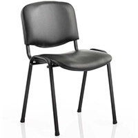 ISO Stacking Chair Black Vinyl Black Frame