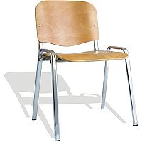 ISO Stacking Chair Beech Chrome Frame