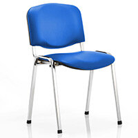 ISO Stacking Chair Blue Vinyl Chrome Frame