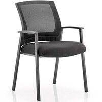 Metro Boardroom & Visitor Chair Black Fabric Black Mesh Back With Arms