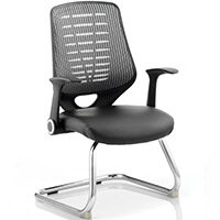 Relay Cantilever Boardroom & Visitor Chair Leather Seat Silver Back With Arms